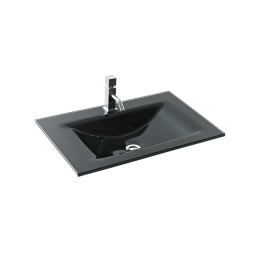 60 black glass washbasin